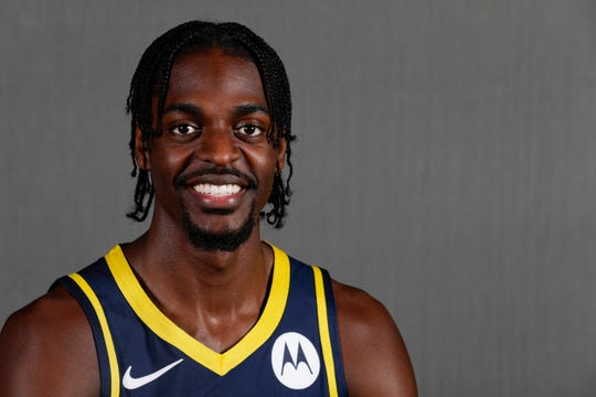 Indiana Pacers forward Justin Holiday poses during the NBA basketball team's media day in Indianapolis. Holiday is not a fan of the G League's new free throw rule.