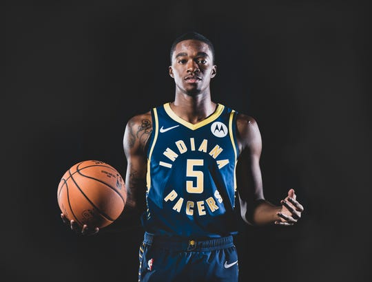 Edmond Sumner, #5, is photographed during the Indiana Pacers Media Day, held at Bankers Life Fieldhouse, on Friday, September 27, 2019.