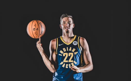 TJ Leaf, #22, is photographed during the Indiana Pacers Media Day, held at Bankers Life Fieldhouse, on Friday, September 27, 2019.