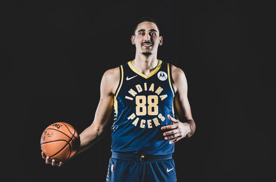 Goga Bitazde, #88, is photographed during the Indiana Pacers Media Day, held at Bankers Life Fieldhouse, on Friday, September 27, 2019.