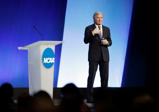 NCAA President Mark Emmert speaks during the NCAA Convention,, Jan. 18, 2018, in Indianapolis.