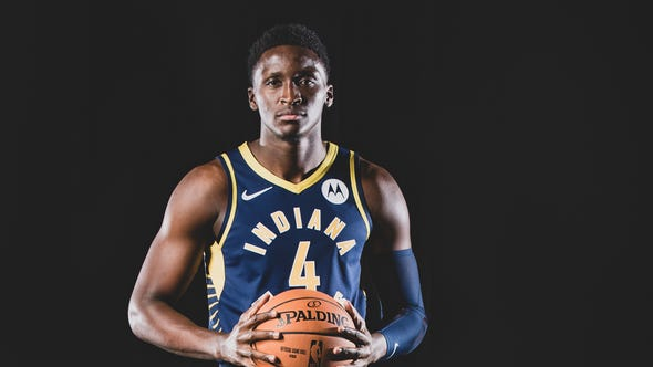 Victor Oladipo, #4, is photographed during the Indiana Pacers Media Day, held at Bankers Life Fieldhouse, on Friday, September 27, 2019.