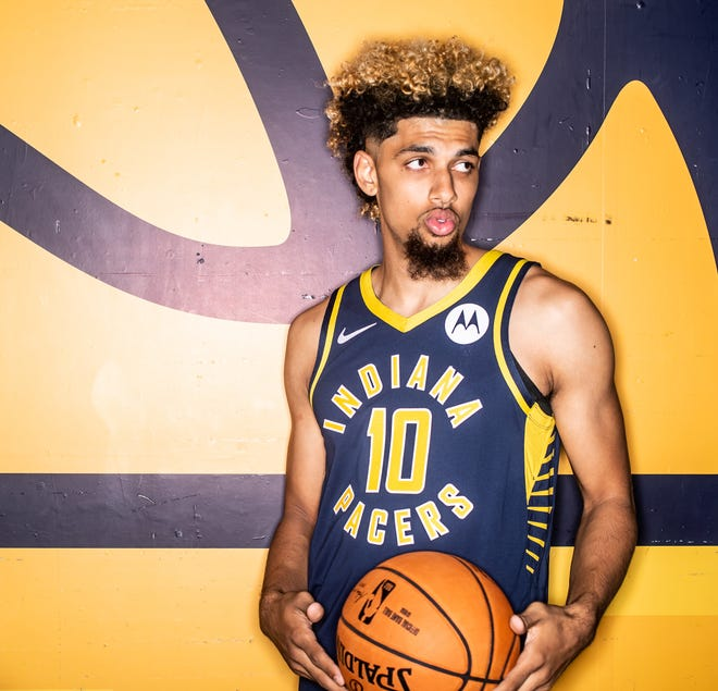 Brian Bowen II, #10, is photographed during the Indiana Pacers Media Day, held at Bankers Life Fieldhouse, on Friday, September 27, 2019.