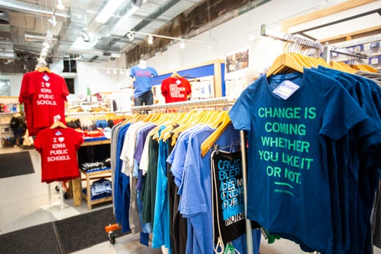 T-shirts featuring Greta Thunberg are displayed, Thursday, Oct., 3, 2019, at Raygun located on the corner of Washington and Dubuque Streets in downtown Iowa City, Iowa.