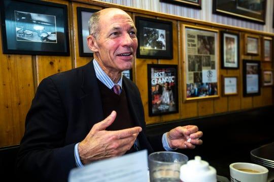 Rt. Admiral Mike Franken, a Democrat running for U.S. Senate in Iowa, speaks during an interview over lunch, Thursday, Oct., 3, 2019, at Hamburg Inn No. 2 in Iowa City, Iowa.