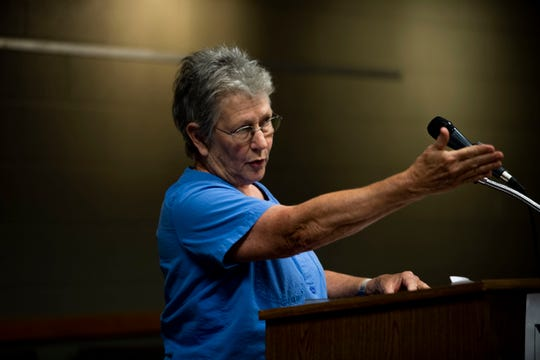 Ann Van der Linde, 72, speaks out against Tennessee's block grant proposal during a public hearing at the Jackson-Madison County Library in Jackson, Tenn., Thursday, Oct. 3, 2019.