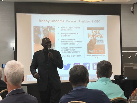 "Emmanuel ""Manny"" Ohonme started Samaritan's Feet, a nationwide initiative to inspire hope through the gift of shoes, the act of washing feet, and encouragement to those who need it most. He shared his own story of not owning a pair of shoes until he was 9-years old."