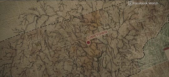 "A map from the Facebook Watch series, ""Limetown,"" showcases where the fictional town is located in Tennessee."