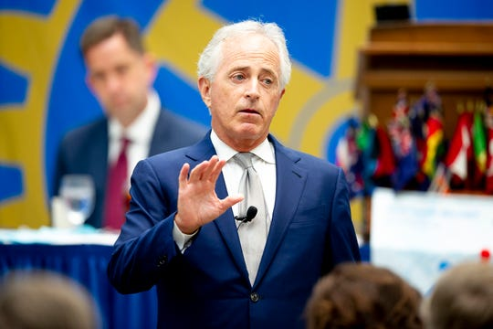 Former U.S. Sen. Bob Corker speaks during a Rotary Club of Chattanooga luncheon at the Chattanooga Convention Center in Chattanooga, Tennessee on Thursday, October 3, 2019.