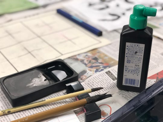 Shigetoshi Eda brought authentic calligraphy materials with which the South-Doyle Middle School Japanese Club members could practice. 10/1/2019
