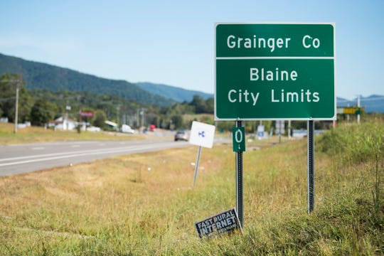 A sign marking the city limits of Blaine is seen in Grainger County on Sept. 25, 2019. A Tennessee Highway Patrol trooper pulled over the car carrying Hank Williams near here around midnight on New Year's Day 1953. The trooper later concluded Williams was already dead.