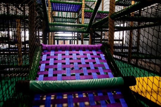 Inside the new, four story play structure at Faith East Community Center called Oasis park, Thursday, Oct. 3, 2019, in Lafayette.