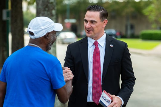 Lafayette mayor-president candidate Josh Guillory campaigns Thursday, Oct. 3, 2019. Guillory, a 36-year-old combat veteran and a UL graduate, early on staked out his place in the campaign as an advocate for trust and fiscal conservatism.