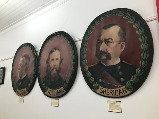Hand-painted portraits of G.A.R. generals hanging on the wall inside the Grand Army of the Republic, Michigan Department James B. Brainerd Post #111 Memorial Hall and Museum, at 224 S. Main St. in Eaton Rapids, built in 1886.