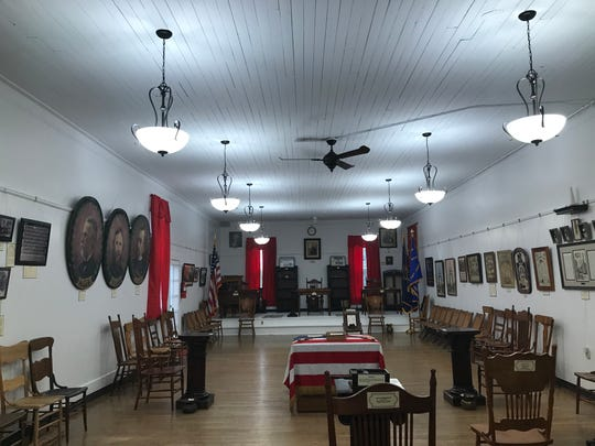 The second floor of the Grand Army of the Republic, Michigan Department James B. Brainerd Post #111 Memorial Hall and Museum in Eaton Rapids, where more than 450 G.A.R. members once gathered for regular meetings. Today the space has been restored to much like it would have a century ago.