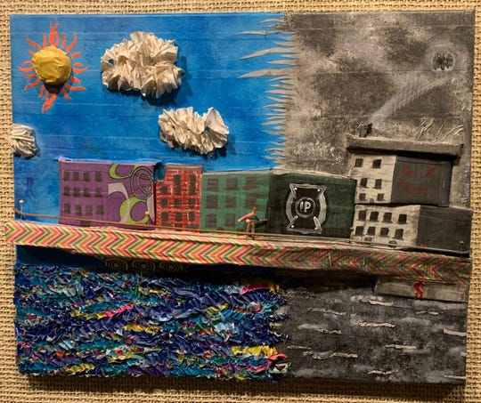 Honorable Mention 'Art is a light in the darkness of our lives. It heals us and brings us to life. Art Transforms us.' from the 2019 Art Slam Manitowoc Challenge. Work by Amanda Miller.