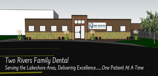 A mock-up of Two Rivers Family Dental's planned 2,200-square-foot expansion and renovation of its existing facility on Forest Avenue in Two Rivers.