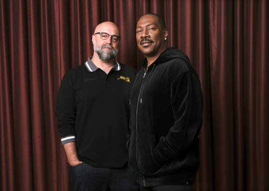 "This Sept. 7, 2019, file photo shows Eddie Murphy, right, star of the film ""Dolemite Is My Name,"" with director Craig Brewer at the Shangri-La Hotel during the Toronto International Film Festival in Toronto."