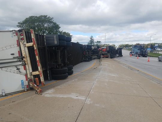 A semi trailer blocks multiple lanes of traffic following an accident near I-43 in New Berlin. The crash resulted in minor injuries and took hours to clean up.