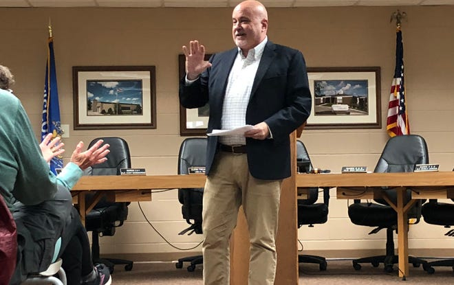 U.S. Rep. Mark Pocan, D-Wis., talks to voters Thursday at a constituent meeting in Dodgeville's City Hall.