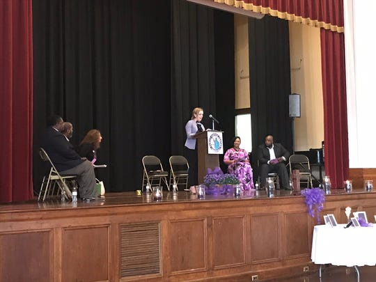 Kalee Moore, section chief of the Domestic Violence Department 4th Judicial District Attorney's Office, speaks at Hope in the Light of Day.
