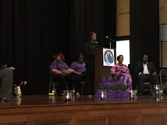 Monica Moore, CEO of Wilson Stuart Transport LLC, served as the keynote speaker at Hope in the Light of Day. Moore discussed the long-term effects domestic violence has had on her health and life.