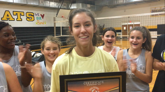 Opp junior Enley Carnley was the ASE Credit Union volleyball player of the week.
