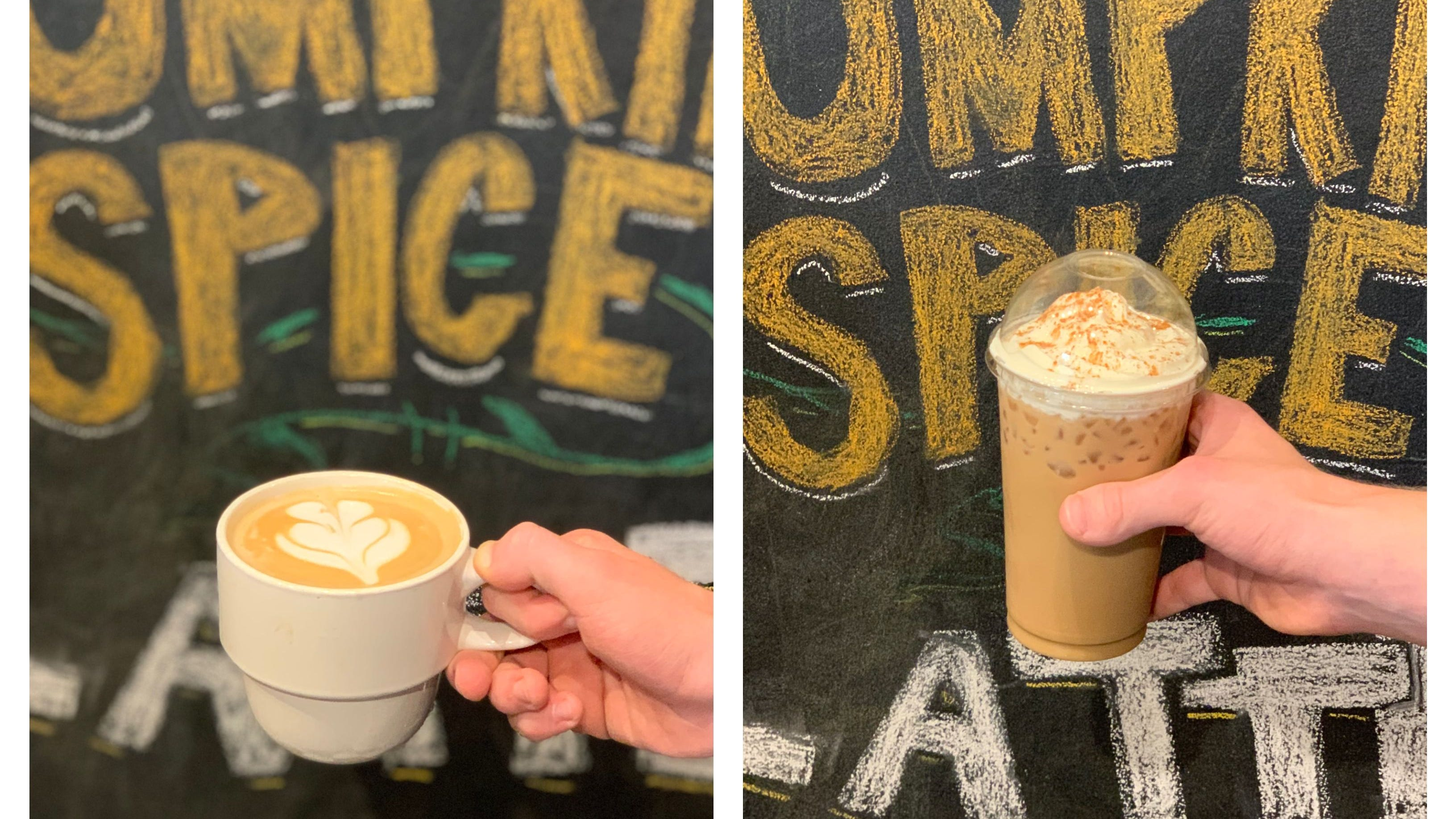 Carpe Cafe serves a traditional hot, pumpkin spice-flavored latte with steamed milk. The iced version is made with the same espresso and flavoring, but topped with whipped cream.