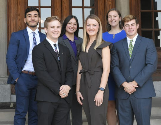 MTSU students Pierce Creighton, Claire Ritter, Curtis Dearing, Kirolos Michael, Maria Hite, and Julianna Turner attend a ceremony at the Tennessee State Capitol on Thursday, Oct. 3, 2019. The six freshmen have been accepted into a Medical School Early Acceptance Program which is a partnership between Meharry Medical College and  Middle Tennessee State University.