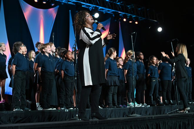 Grammy Award-winning gospel artist CeCe Winans performs with the Waverly-Belmont Elementary School choir during the 15th Annual Nashville Public Education Foundation awards luncheon on Wednesday, Oct. 2, 2019 in Nashville, Tennessee.