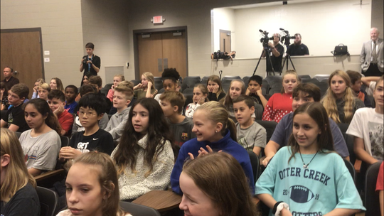 Grassland Middle School students enjoyed a ribbon-cutting ceremony in the school's new performing arts center on Wednesday, Oct. 2, 2019.