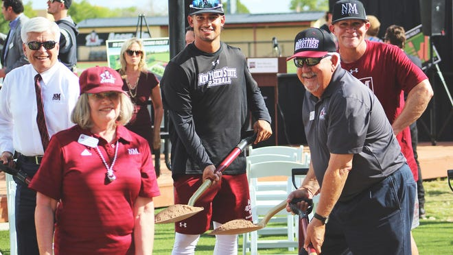 The New Mexico State baseball team broke ground on a new hitting facility Thursday, Oct. 3.