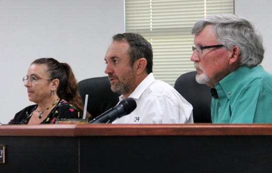 The Otero County Commission at their regular meeting Sept. 26. From left: Otero County Commissioner Lori Bies, Otero County Commission Chairman Couy Griffin and Otero County Vice Chairman Gerald Matherly.