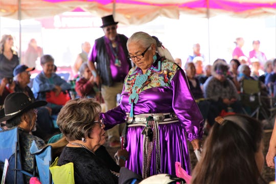 A crowd attends Elder Fest, Thursday, Oct. 3, 2019, during the 108th Navajo Nation Fair in Shiprock.