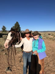 Shay Pendray (right) a Bloomfield Hills resident, with Katherine Boucher, head wrangler at A Bar A Ranch in Wyoming and Einstein.
