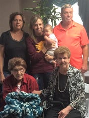 Five generations of the Varrero family. Regina Varrero (left) and her daughter Sandy Jahner (right) are in the front. In the back, from left, is Amy Blauvelt, Brittany Larson, Reese Larson and Michael Blauvelt.