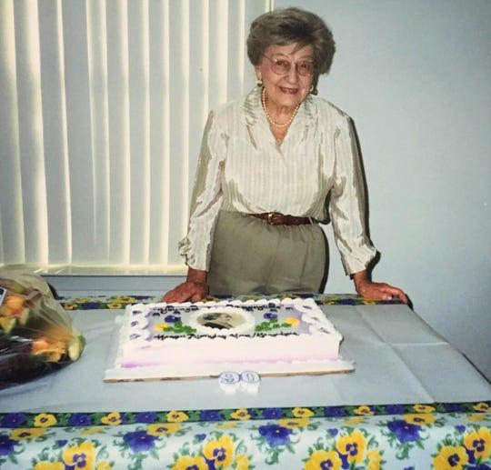 Regina Varrero 20 years ago on her 90th birthday.
