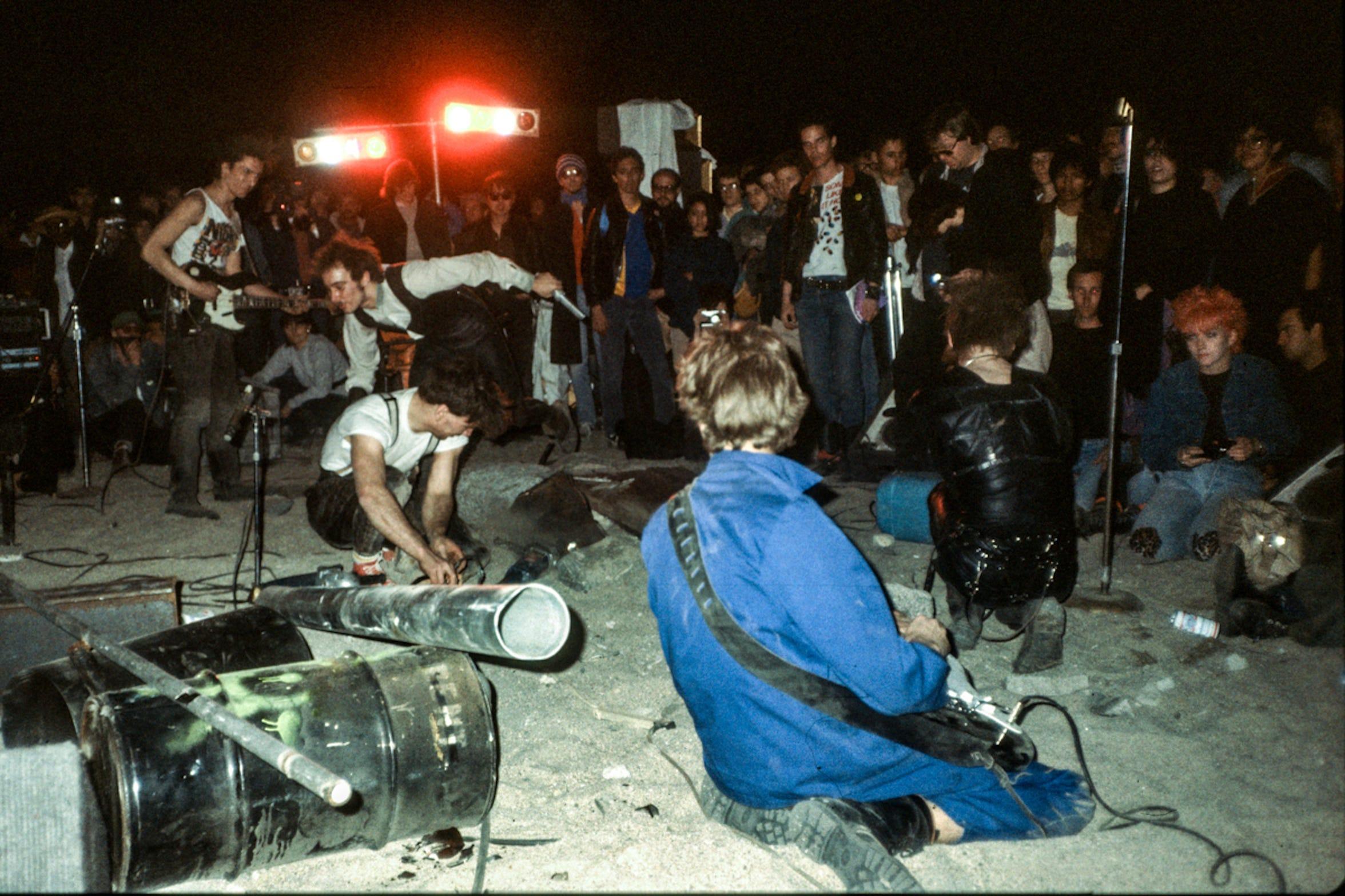 Einstürzende Neubauten's Mojave Auszüg Performance in Box Canyon in Mecca, Calif. March 4, 1984.