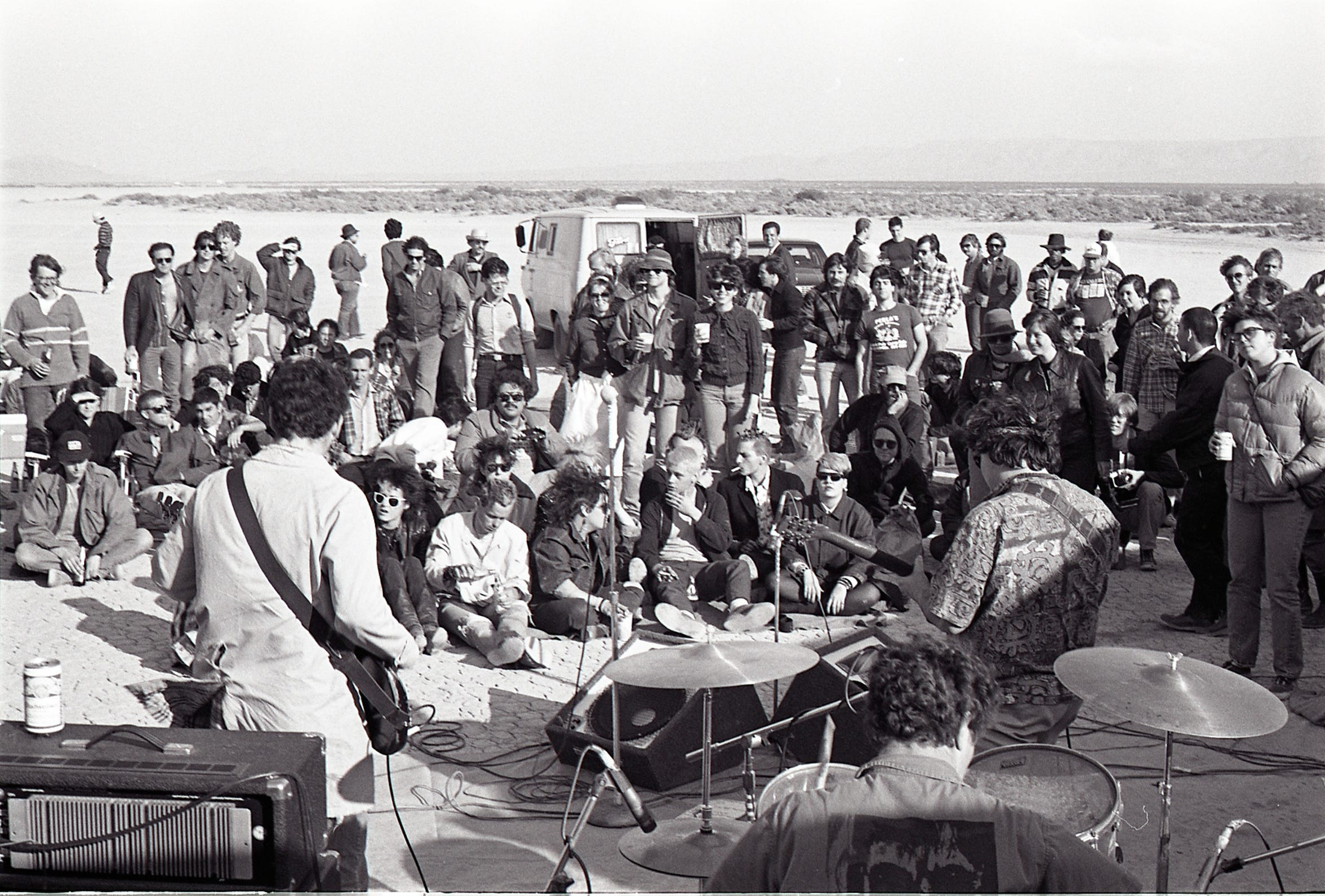 The Minutemen perform at Mojave Exodus at Soggy Dry Lake in Lucerne Valley, Calif. on April 24, 1983