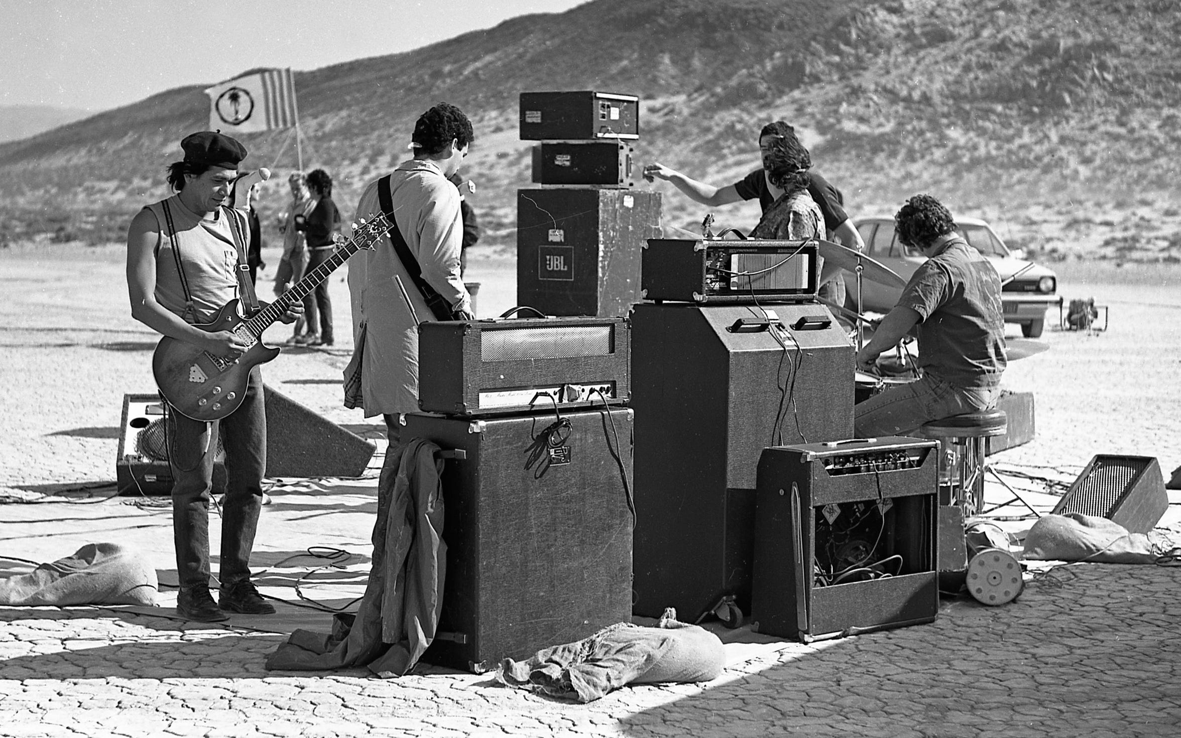 Minutemen performing at Mojave Exodus at Soggy Dry Lake in Lucerne Valley, Calif. on April 24, 1983.