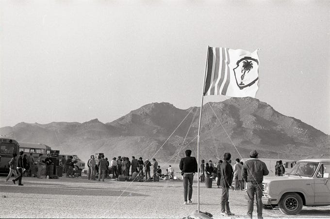 Mojave Exodus at Soggy Dry Lake in Lucerne Valley, Calif. on April 24, 1983.