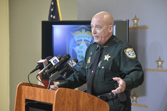 Santa Rosa County Sheriff Bob Johnson talks at a press conference Thursday, Oct., 3, 2019, about a shooting in Gulf Breeze earlier in the week. The sheriff said a Gulf Breeze man shot and killed his son-in-law in a case of mistaken identity.