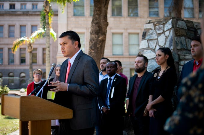 State Representative Tony Rivero, R-Peoria, speaks out against an all-time low for refugee admissions of 18,000 for fiscal year 2020 at the Rise For Refugees Press Conference at the Arizona State Capitol on Thursday, Oct. 3, 2019.