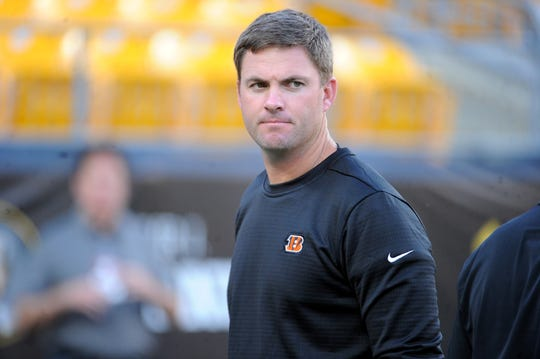 Bengals coach  Zac Taylor looks on before a game against the Steelers on Sept. 30 at  at Heinz Field.