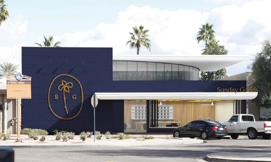 A rendering of the proposed Sunday Goods medical marijuana dispensary planned near Fifth Avenue and Winfield Scott Plaza in downtown Scottsdale.