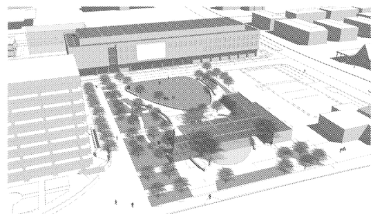 An early rendering of ASU @ Mesa City Center and the civic center plaza. The final designs are expected to be completed this month and then must move through the city's Design Review Board.
