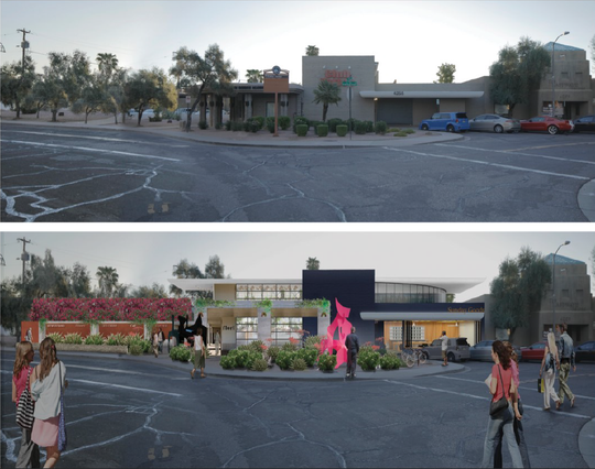 A before and after rendering of the proposed Sunday Goods medical marijuana dispensary planned near Fifth Avenue and Winfield Scott Plaza in downtown Scottsdale. The site is currently occupied by Club Tattoo.