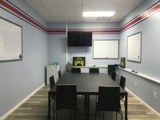 A conference room available for use at Dock 421, a new co-working space that opened Tuesday, Oct. 1, 2019, in Algonac.