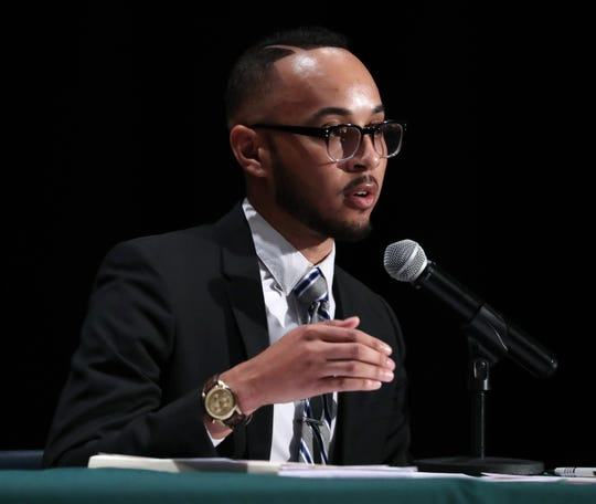 Poughkeepsie mayoral candidate Joash Ward speaks during a candidates forum at the Lateef Islam Auditorium at the Family Partnership Center in Poughkeepsie Oct. 3, 2019.