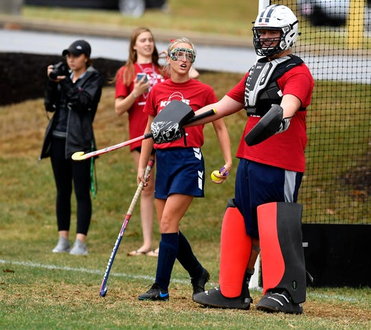 """Sean McNicholas looks to the ref after the girls' field hockey team scored against the football team during the 7th annual """"Kilts for a Cause"""" game to raise funds  to benefit a local cancer charity, Thursday October 3, 2019.John A. Pavoncello photo"""